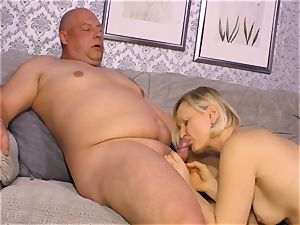 xxx OMAS - filthy mature pound with rookie German blonde