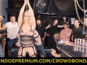 CROWD bondage - Silicone funbags light-haired wild public sex