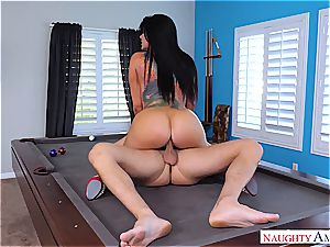 Romi Rain gets her honeypot rocked on top of the pool table