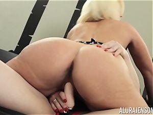 Alura Jenson slit crammed with strap dildo powerful muscled female Brandi May