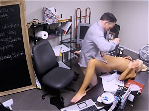 Katerina Kay keeps her job by romping the boss