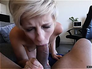 Short-haired blondie stepsister rails schlong like a fuckslut