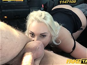 faux cab ash-blonde cougar Victoria Summers torn up in a taxi