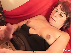 Punky pierced grannie loves to blow and nail