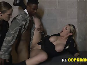 Impostor soldier is compelled into penetrating pervy milf cops
