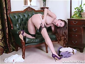 babe disrobes to nylons high-heeled shoes to plaything her cunny