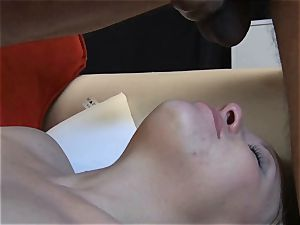 petite light-haired cuckold showcases her deep throat and inhale