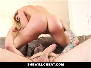 SheWillCheat cuckold wife Gags on spear