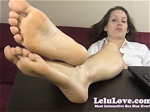 secretary teases and teases you with her naked soles
