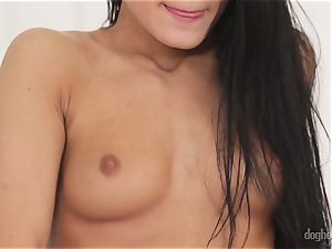 naughty brunettes Lexi Dona and Evelyn Neill unclothing off her fantastic clothes