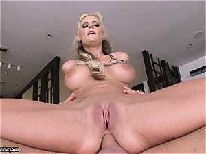 rectal lover Phoenix Marie bounces her butt on a thick spunk-pump