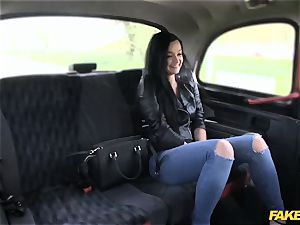 fake cab black-haired luvs to exercise on fuckpole
